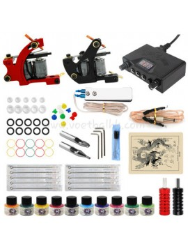 Kit Machine a Tatouer Un Noir Et Un Rouge Machine 10 Couleurs