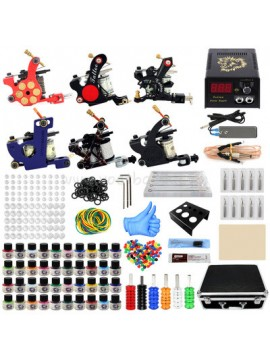 Kit Machine a Tatouer Six Machines 40 Couleurs