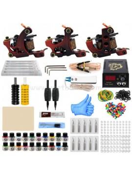 Kit Machine a Tatouer Trois Rouge Machines 20 Couleurs