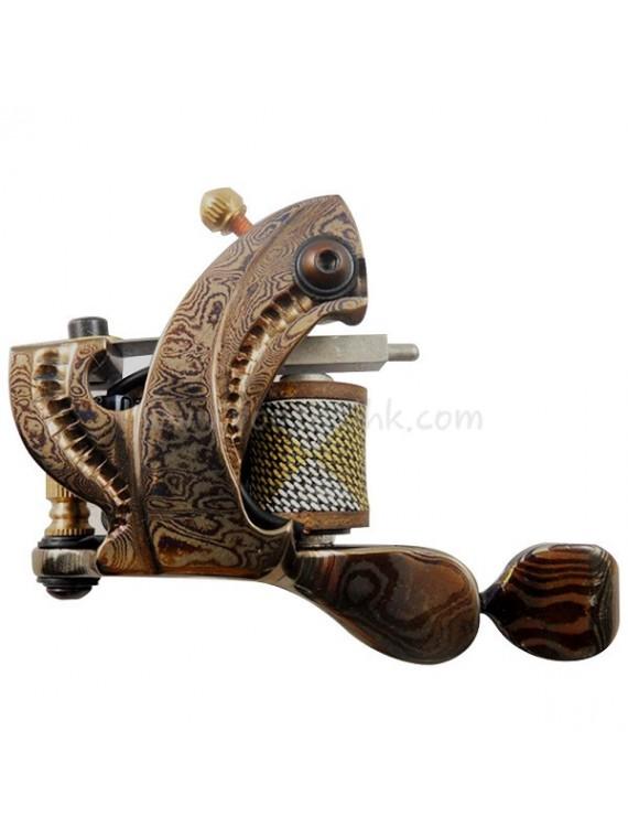Machine a Tatouer N109 10 Couche Bobine Damas Acier Liner Brillant Jaune